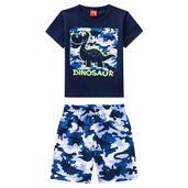 Conjunto-Infantil---Camiseta-e-Bermuda---100--Algodao---Dinossauro---Azul-Marinho---Kyly---1