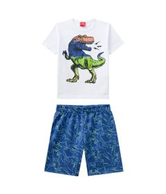 Conjunto-Infantil---Camiseta-e-Bermuda---100--Algodao---Dinossauro---Branco---Kyly---1