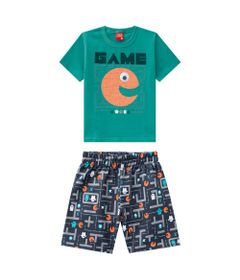 Conjunto-Infantil---Camiseta-e-Bermuda---100--Algodao---Game---Verde---Kyly---1
