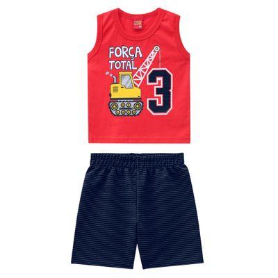 Conjunto-Infantil---Camiseta-e-Bermuda---100--Algodao---Guindaste---Vermelho---Kyly---1