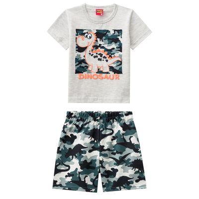 Conjunto-Infantil---Camiseta-e-Bermuda---Algodao-e-Poliester---Dinossauro---Mescla---Kyly---1