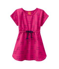 Vestido-Infantil---100--Algodao---Gatinhos---Rosa-Choque---Kyly---1