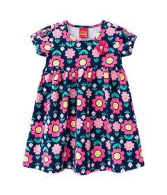 Vestido-Infantil---Algodao-e-Poliester---Floral---Azul-Marinho---Kyly---1