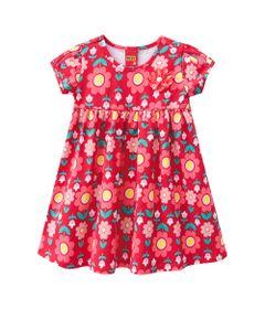 Vestido-Infantil---Algodao-e-Poliester---Flores---Vermelho---Kyly---1