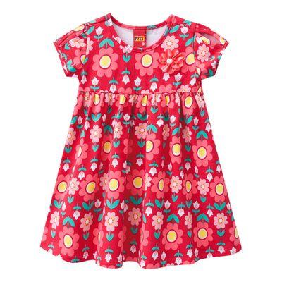 Vestido-Infantil---Algodao-e-Poliester---Flores---Vermelho---Kyly---2