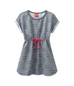 Vestido-Infantil---Algodao-e-Poliester---Gatinhos---Mescla---Kyly---1