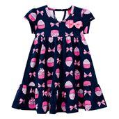 Vestido-Infantil---Algodao-e-Poliester---Lacos-E-Cupcake---Azul-Marinho---Kyly---1