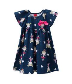 Vestido-Infantil---Meia-Malha---Bailarina---Azul-Marinho---Kyly---1