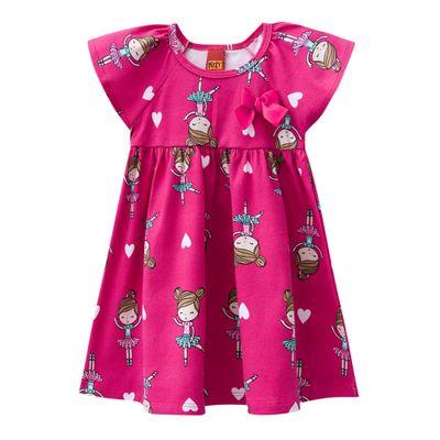 Vestido-Infantil---Meia-Malha---Bailarina---Rosa-Choque---Kyly---1