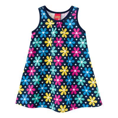 Vestido-Infantil---Meia-Malha---Flores---Azul-Marinho---Kyly---1