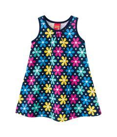 Vestido-Infantil---Meia-Malha---Flores---Azul-Marinho---Kyly---2