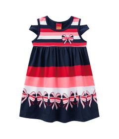 Vestido-Infantil---Meia-Malha---Listras-Com-Laco---Azul-Marinho---Kyly---1