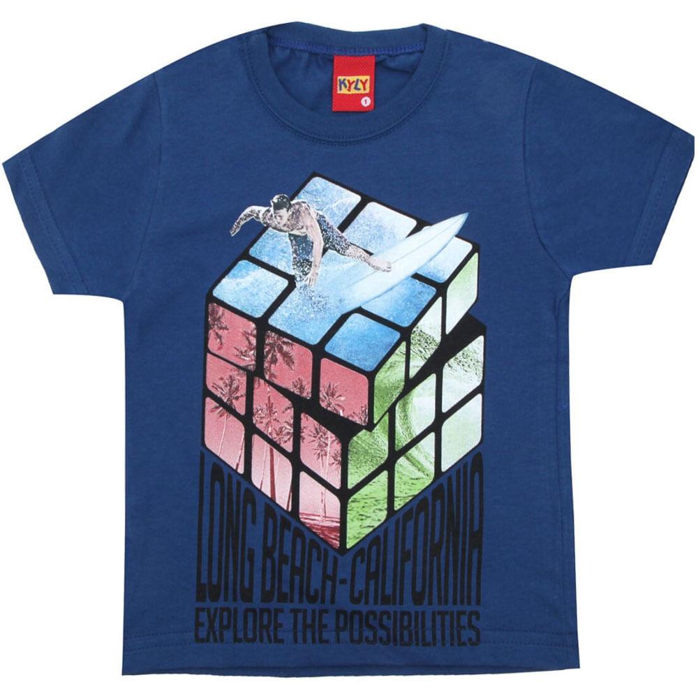Camiseta Masculina - Meia Malha - Cubo E Surfista - Azul - Kyly