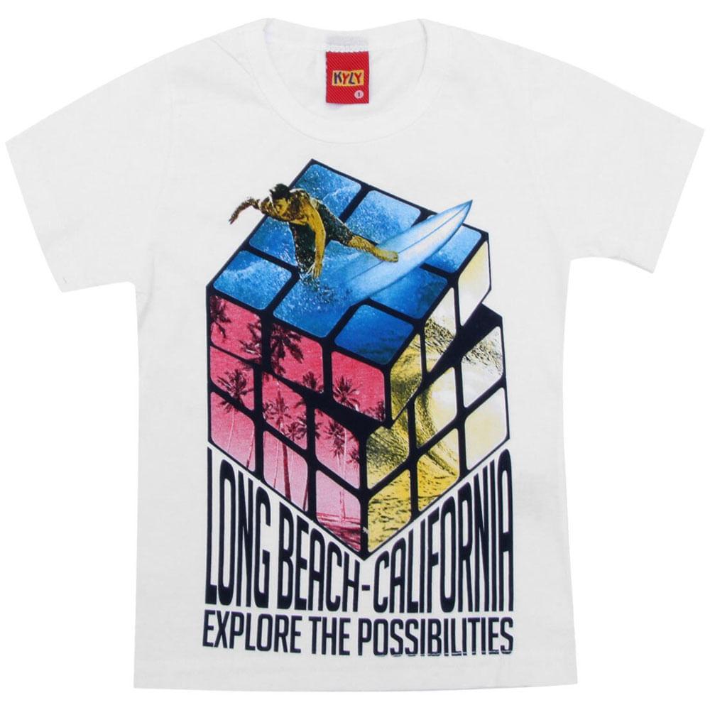 Camiseta Masculina - Meia Malha - Cubo E Surfista - Branco - Kyly