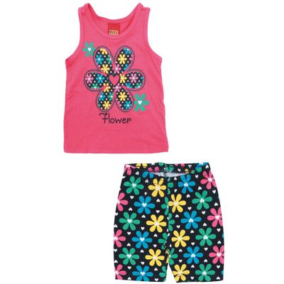 Conjunto-Infantil---Blusa-e-Short---100-Algodao---Flor---Rosa-Choque---Kyly---1