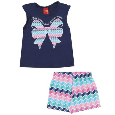 Conjunto-Infantil---Blusa-e-Short---Meia-Malha---Laco---Azul---Kyly---1