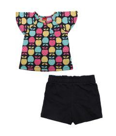 Conjunto-Infantil---Blusa-e-Short---Meia-Malha---Macas---Azul-Marinho---Kyly---1