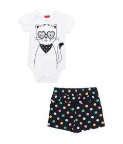 Conjunto-Infantil-Body-e-Short---100-Algodao---Gatinhos---Branco---Kyly---RN