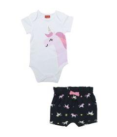 Conjunto-Infantil-Body-e-Short---Meia-Malha---Unicornio---Branco---Kyly---RN