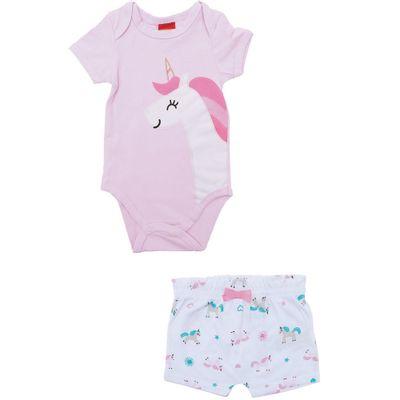 Conjunto-Infantil-Body-e-Short---Meia-Malha---Unicornio---Rosa---Kyly---RN
