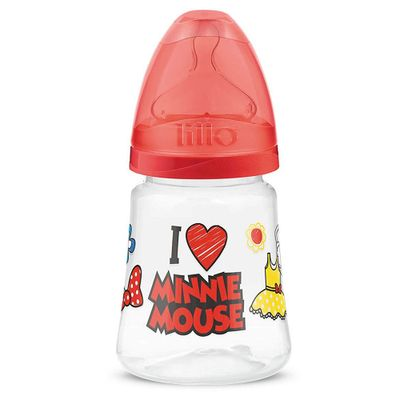 Mamadeira-Transparente---180Ml---Disney---Minnie-Mouse---Vermelha---Lillo