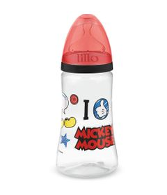 Mamadeira-Transparente---300Ml---Disney---Mickey-Mouse---Preta---Lillo