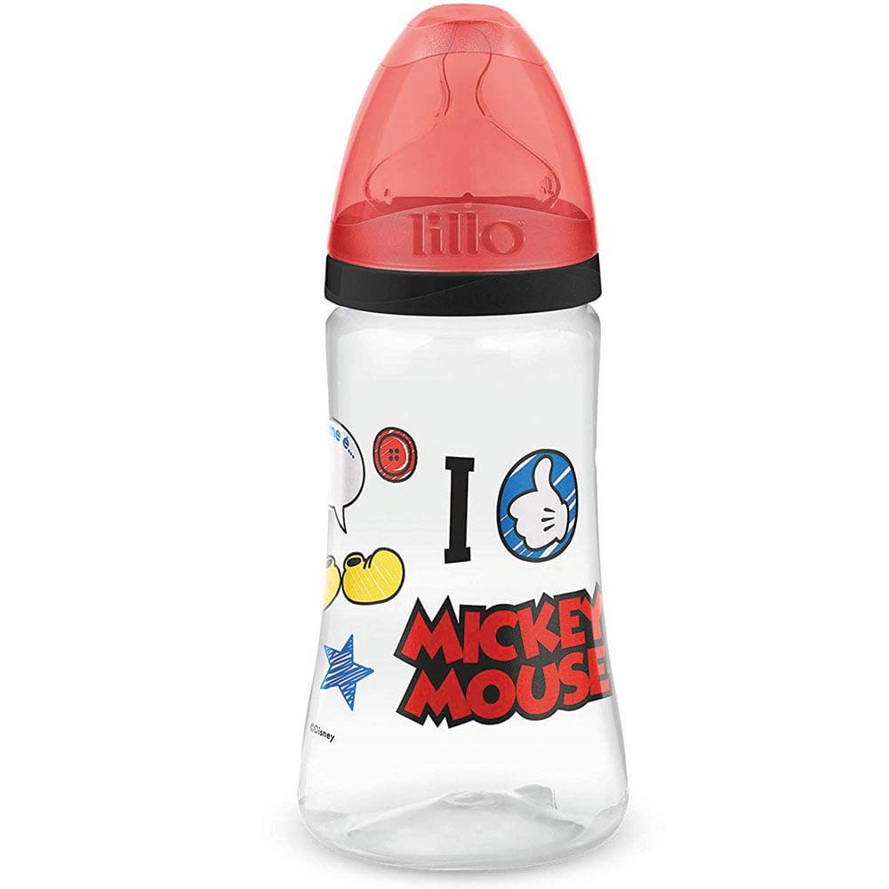 Mamadeira Transparente - 300Ml - Disney - Mickey Mouse - Preta - Lillo