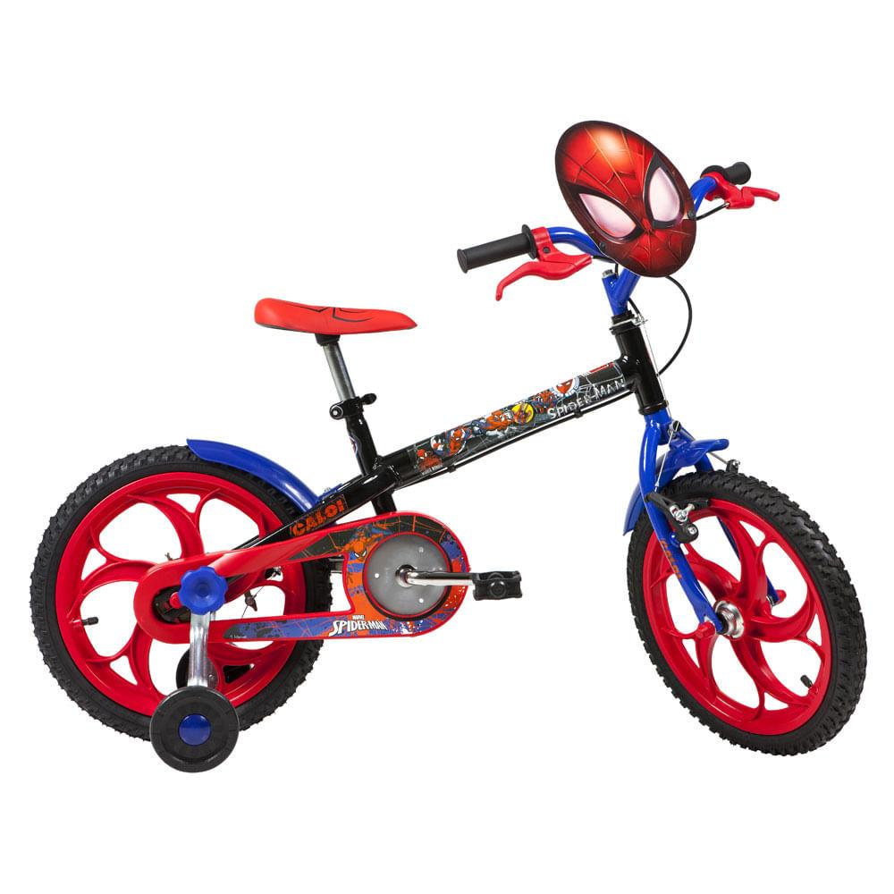 Bicicleta ARO 16 - Disney - Marvel - Spider-Man - Preta - Caloi