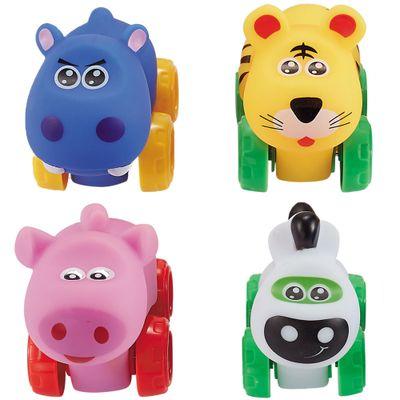 Conjunto-de-Carrinhos---Roda-Livre---Onca-Hipopotamo-Porco-e-Zebra---Zoo-Cars---Minimi_Frente