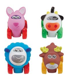 Conjunto-de-Carrinhos---Roda-Livre---Raposa-Vaca-Ovelha-e-Alce---Zoo-Cars---Minimi_Frente
