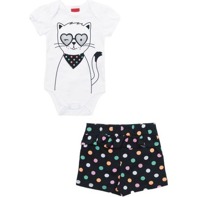 Conjunto-Infantil-Body-e-Short---100-Algodao---Gatinhos---Branco---Kyly---P