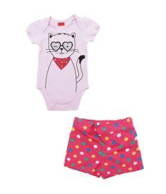 Conjunto-Infantil-Body-e-Short---100-Algodao---Gatinhos---Rosa---Kyly---P