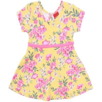 Vestido-Infantil---Algodao-e-Poliester---Flores---Amarelo---Kyly---2