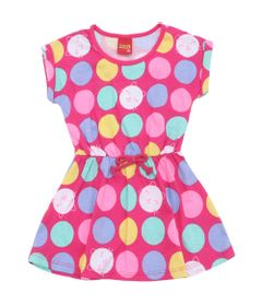 Vestido-Infantil---Meia-Malha---Bolas-Coloridas---Rosa-Choque---Kyly---2