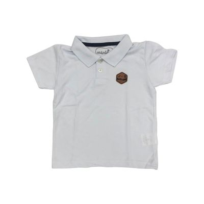 Camisa-Polo-Infantil---Piquet---Algodao-e-Poliester---Branco---Minimi---1