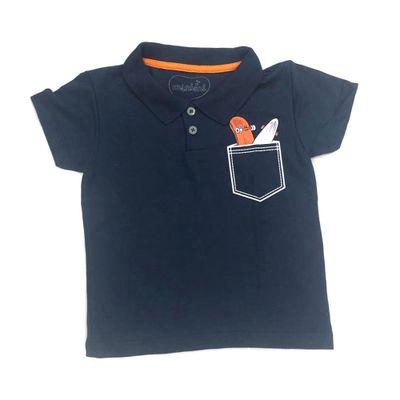 Camisa-Polo-Infantil---Piquet-com-Bolso---Algodao-e-Poliester---Azul-Marinho---Minimi---1