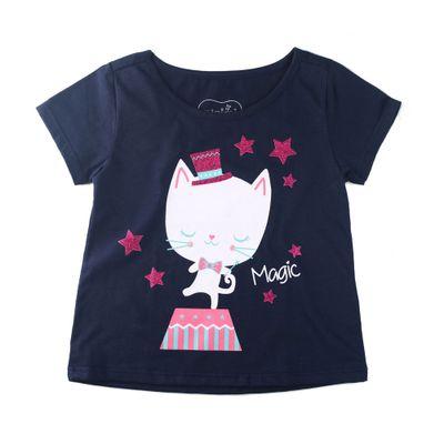 Camisa-Manga-Curta---Gatinho-Magico---100-Algodao---Marinho---Minimi---1