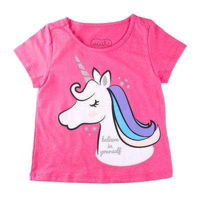 Camisa-Manga-Curta---Unicornio-Charmoso---100-Algodao---Pink---Minimi---1