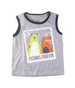 Camiseta-Regata---Friends-Urso---Dino---Algodao-e-Poliester---Cinza---Minimi---1