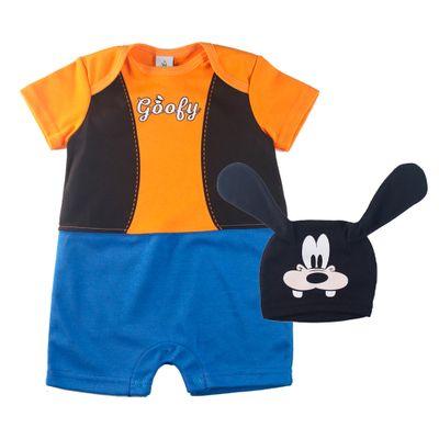 Conjunto-Infantil---Macaquinho-e-Touca---Fantasia-Pateta---100-Algodao---Laranja----Disney---P