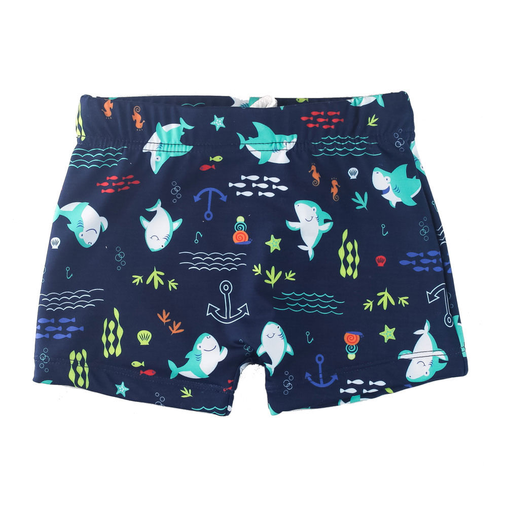 Sunga Infantil - Boxer - Azul Marinho - Tubarões - Minimi