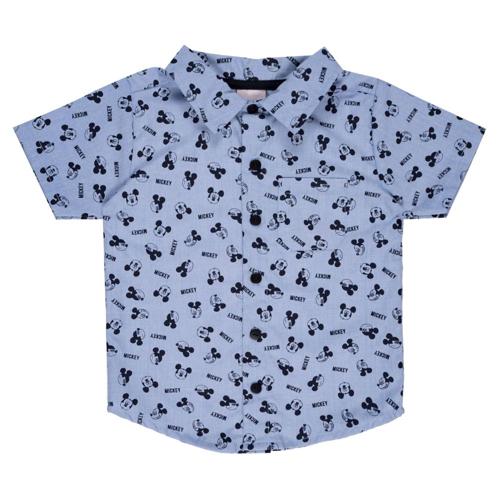 Camisa Manga Curta - Mickey Mouse - Algodão e Poliéster - Azul - Disney