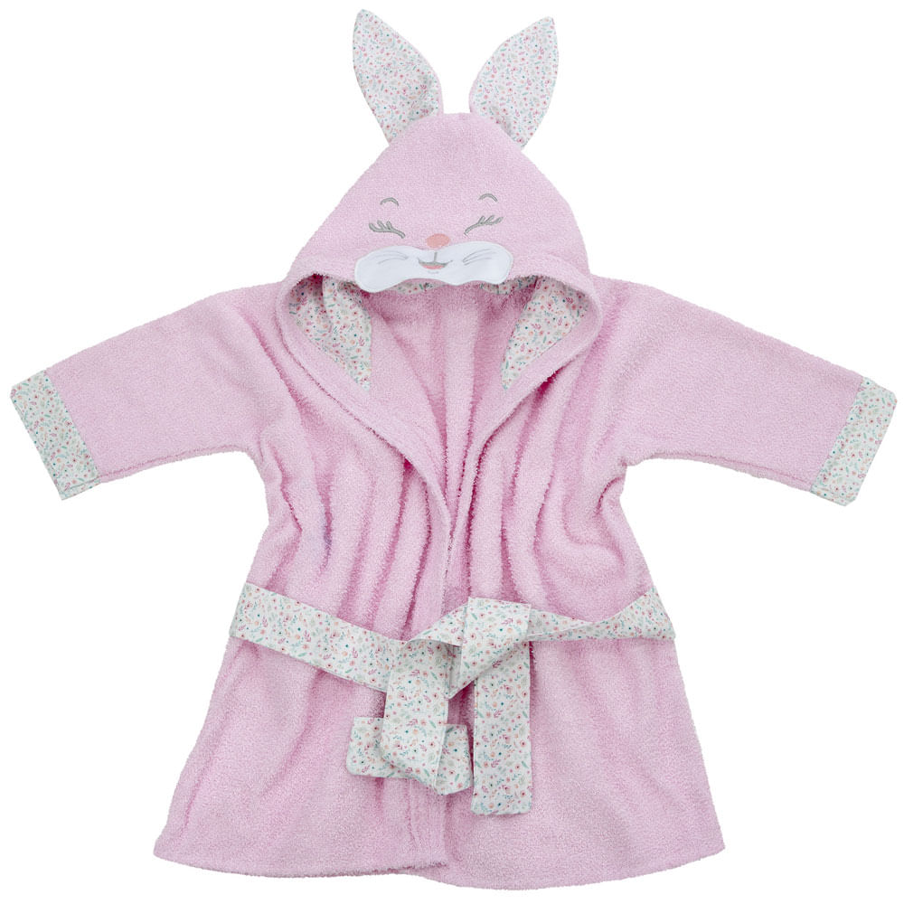 Roupão Infantil com Capuz - Premium Liso - Coelha - Baby Joy - Incomfral