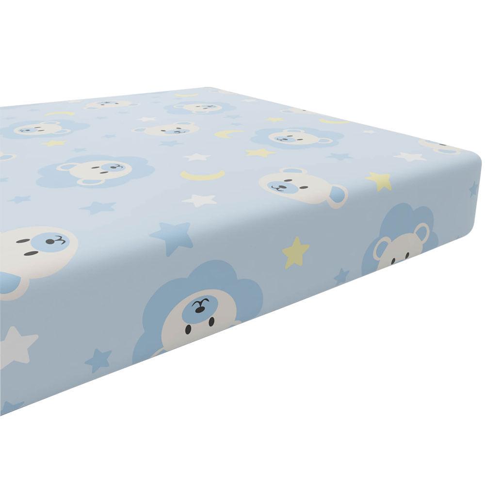 Lençol com Elástico Bercinho - 90x150 Cm - Estampa Ursinhos - Azul - Incomfral