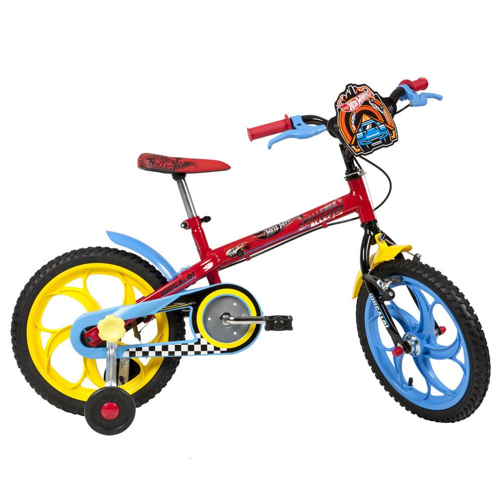 Bicicleta Aro 16 - Hot Wheels - Preto e Vermelho - Caloi