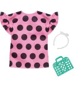 Acessorios-de-Boneca---Barbie-Fashionistas---Vestido-Rosa-com-Bolinha-Preta---Mattel