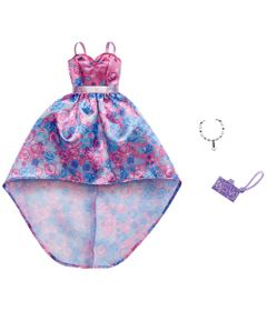 Acessorios-de-Boneca---Barbie-Fashionistas---Vestido-Rosa-com-Flor-Azul---Mattel