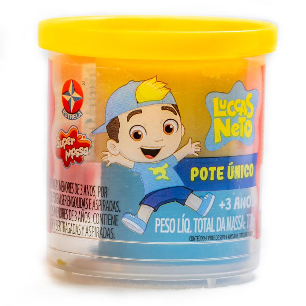 Massa de Modelar - Super Massa - Luccas Neto - Pote Único - 110Gr - Azul e Amarelo - Estrela