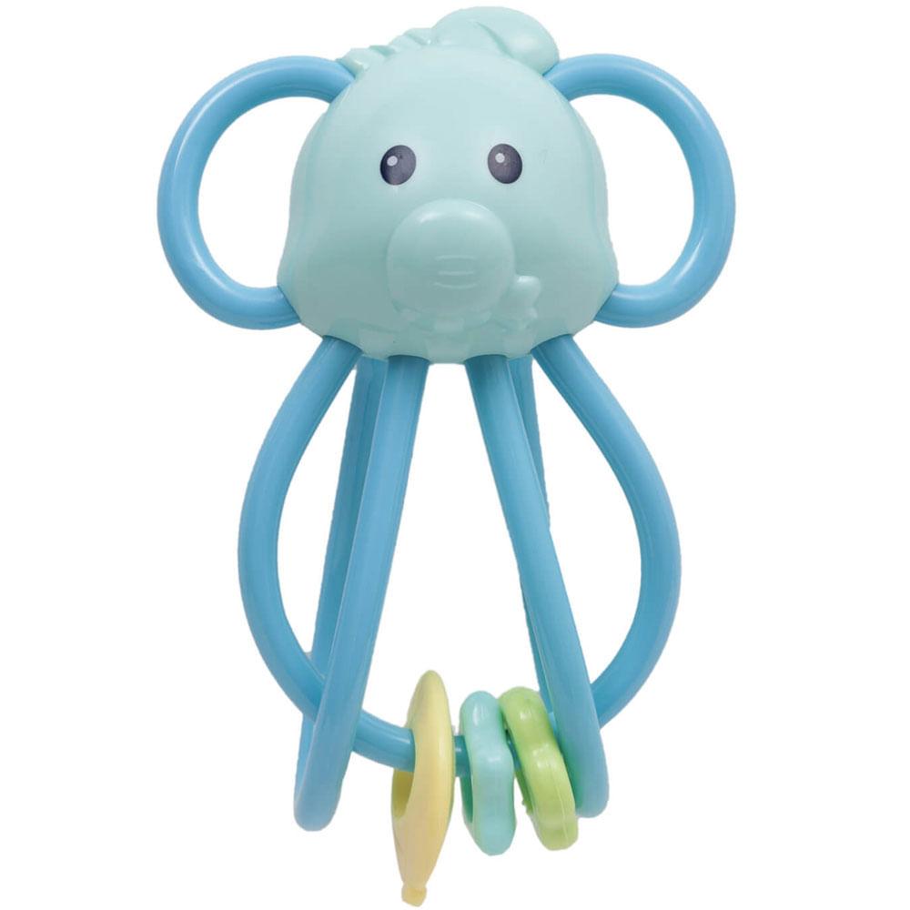 Chocalho Elefantinho Divertido - Azul - Buba
