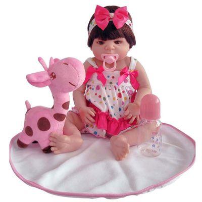 Boneca-Laura-Doll---Reborn---Baby-Aurora-com-Vestido-de-Bolinhas---Shiny-Toys